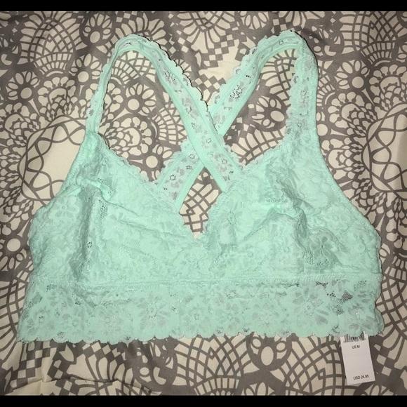 07e6d4bb06e Nwt Aerie cross-back lace bralette mint green M
